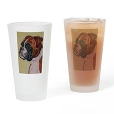 Red Boxer Dog headstudy Drinking Glass