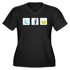 Twitter facebook tennis Women's Plus Size V-Neck D