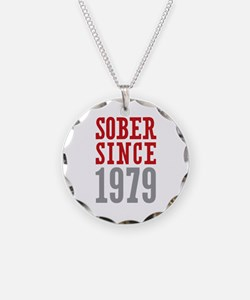 Sober Since 1979 Necklace Circle Charm