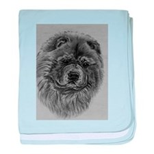 Chow Chow Dog Headstody - Black baby blanket