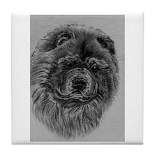 Chow Chow Dog Headstody - Black Tile Coaster