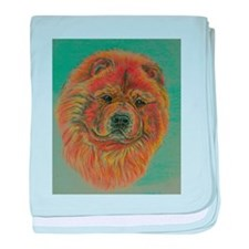 Red Chow Chow Dog headstudy. baby blanket