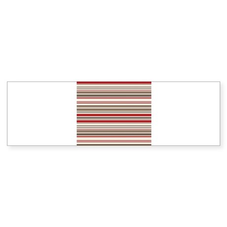 Red Gray Brown Stripes Sticker (Bumper)