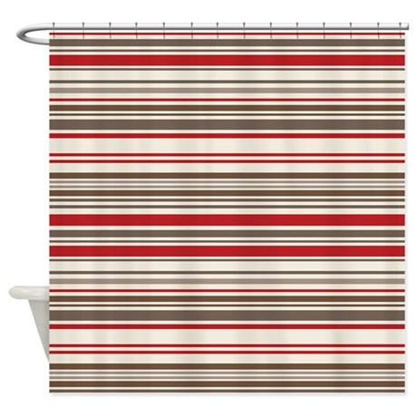 Red Gray Brown Stripes Shower Curtain By