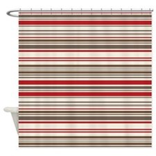 Red Gray Brown Stripes Shower Curtain