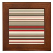 Red Gray Brown Stripes Framed Tile