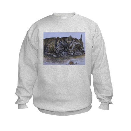 French Bulldogs with Snail Kids Sweatshirt