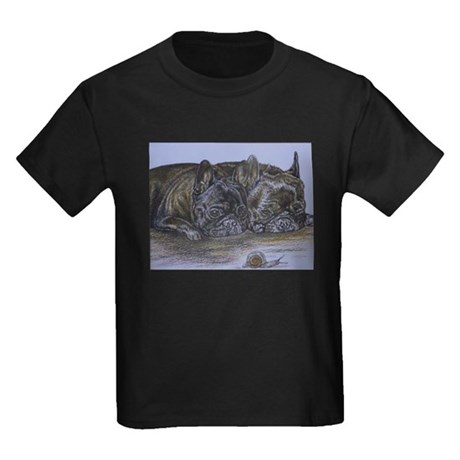 French Bulldogs with Snail Kids Dark T-Shirt