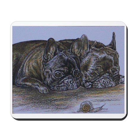 French Bulldogs with Snail Mousepad