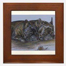 French Bulldogs with Snail Framed Tile