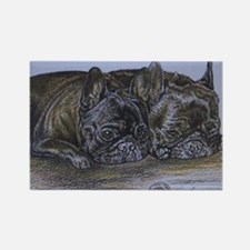French Bulldogs with Snail Rectangle Magnet