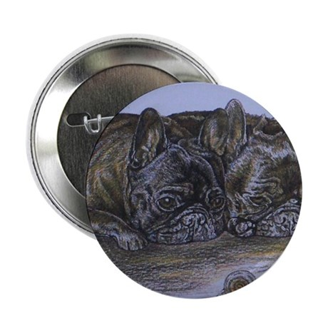 "French Bulldogs with Snail 2.25"" Button"