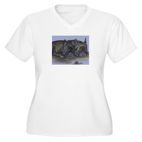 French Bulldogs with Snail Women's Plus Size V-Nec