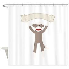 Sock Monkey Banner Shower Curtain