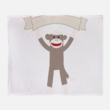 Sock Monkey Banner Throw Blanket