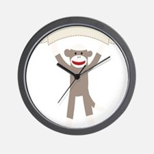 Sock Monkey Banner Wall Clock