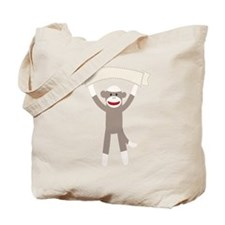 Sock Monkey Banner Tote Bag