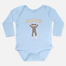 Sock Monkey Banner Long Sleeve Infant Bodysuit