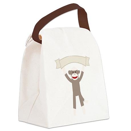 Sock Monkey Banner Canvas Lunch Bag