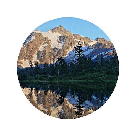 """Mt Shuksan over Picture Lake 3.5"""" Button"""