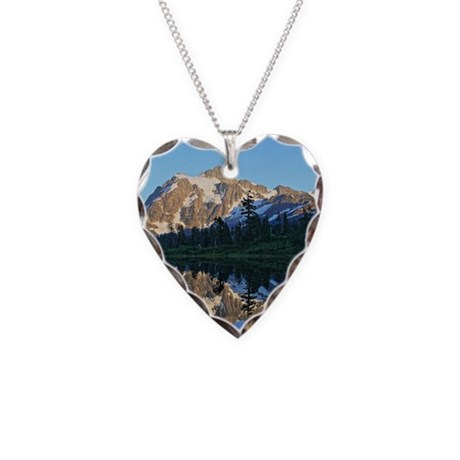 Mt Shuksan over Picture Lake Necklace Heart Charm