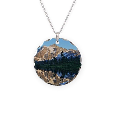Mt Shuksan over Picture Lake Necklace Circle Charm