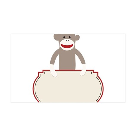 Sock Monkey Announcement 35x21 Wall Decal