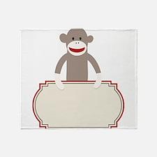 Sock Monkey Announcement Throw Blanket