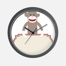 Sock Monkey Announcement Wall Clock