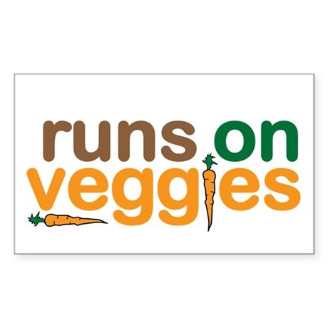 Runs on Veggies Sticker (Rectangle)