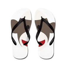 Sock Monkey Face Flip Flops