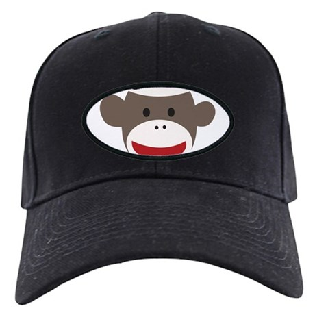 Sock Monkey Face Black Cap