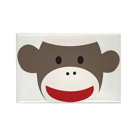 Sock Monkey Face Rectangle Magnet