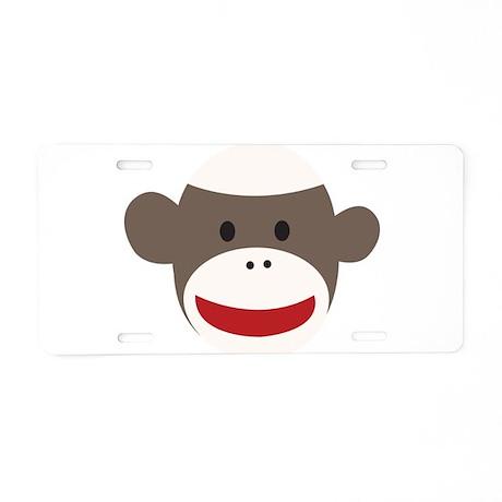 Sock Monkey Face Aluminum License Plate