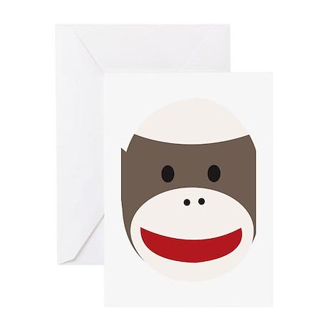 Sock Monkey Face Greeting Card