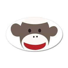 Sock Monkey Face 35x21 Oval Wall Decal