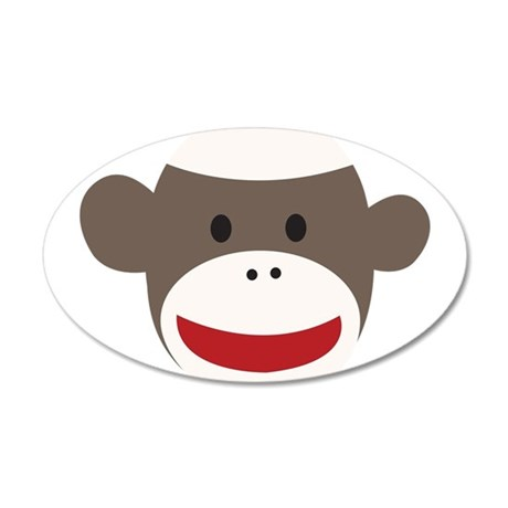 Sock Monkey Face 20x12 Oval Wall Decal