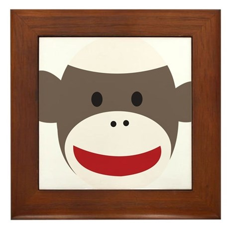 Sock Monkey Face Framed Tile