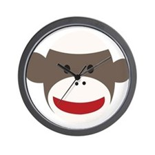 Sock Monkey Face Wall Clock