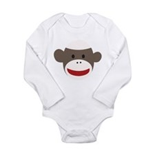 Sock Monkey Face Long Sleeve Infant Bodysuit