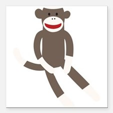 "Sock Monkey Square Car Magnet 3"" x 3"""