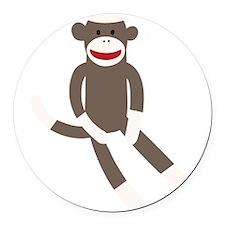 Sock Monkey Round Car Magnet