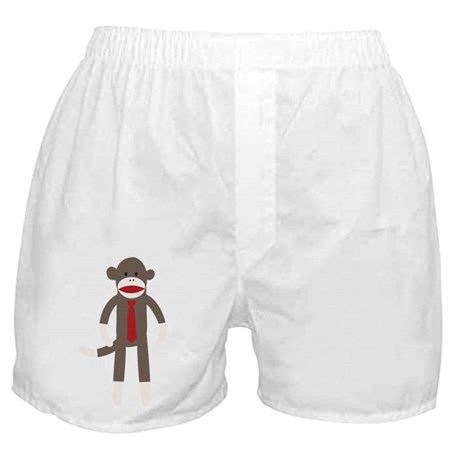 Red Tie Sock Monkey Boxer Shorts