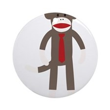 Red Tie Sock Monkey Ornament (Round)