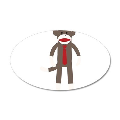 Red Tie Sock Monkey 20x12 Oval Wall Decal