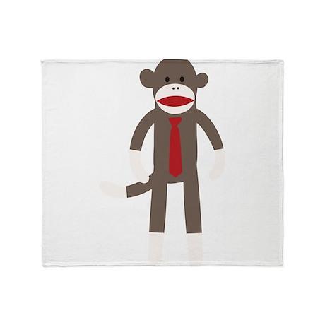 Red Tie Sock Monkey Throw Blanket
