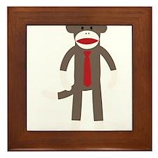 Red Tie Sock Monkey Framed Tile