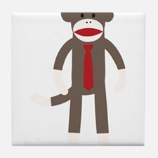 Red Tie Sock Monkey Tile Coaster