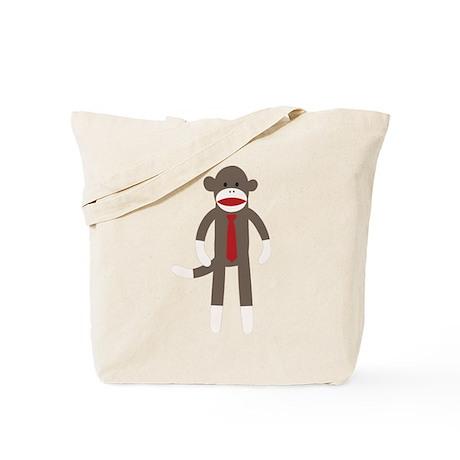 Red Tie Sock Monkey Tote Bag