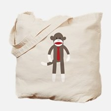 Red Tie Sock Monkey Tote Bag